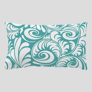 Blue Turquoise & White Swirls Pillow Case