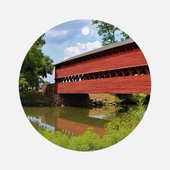 Sach's Covered Bridge Round Ornament