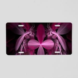 Pink Fractal Dragonflies Aluminum License Plate