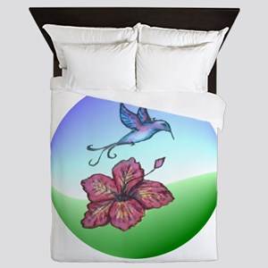Humming bird & flower Queen Duvet