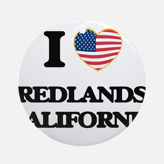 I love Redlands California USA De Ornament (Round)