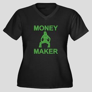 Money Maker Women's Plus Size V-Neck Dark T-Shirt