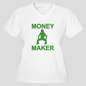 Money Maker Women's Plus Size V-Neck T-Shirt