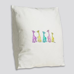 Baby Pastel Giraffes In A Row Burlap Throw Pillow