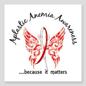 "Aplastic Anemia Butterfl Square Car Magnet 3"" x 3"""
