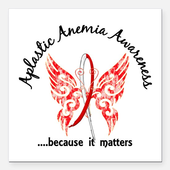 "Aplastic Anemia Butterfl Square Car Magnet 3"" x 3"""