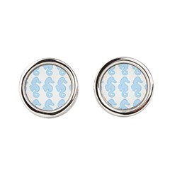 Light Blue Seahorses Round Cufflinks