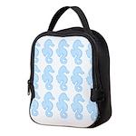 Light Blue Seahorses Neoprene Lunch Bag