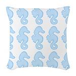 Light Blue Seahorses Woven Throw Pillow