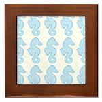 Light Blue Seahorses Framed Tile