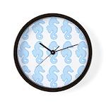 Light Blue Seahorses Wall Clock