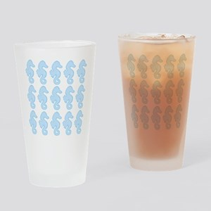 Light Blue Seahorses Drinking Glass