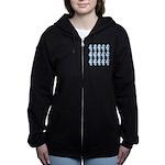 Light Blue Seahorses Women's Zip Hoodie