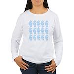 Light Blue Seahorses Long Sleeve T-Shirt