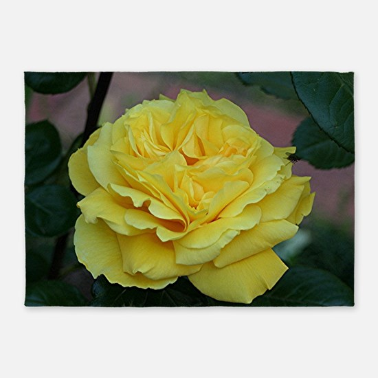 Yellow rose flower in bloom in gard 5'x7'Area Rug