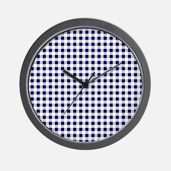 Blue Gingham Pattern Wall Clock