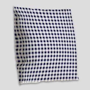 Blue Gingham Pattern Burlap Throw Pillow