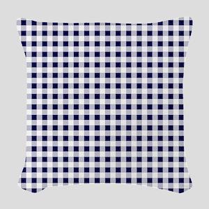 Blue Gingham Pattern Woven Throw Pillow
