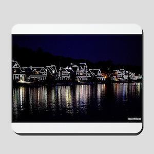 Philadelphia's Boathouse Row at night Mousepad