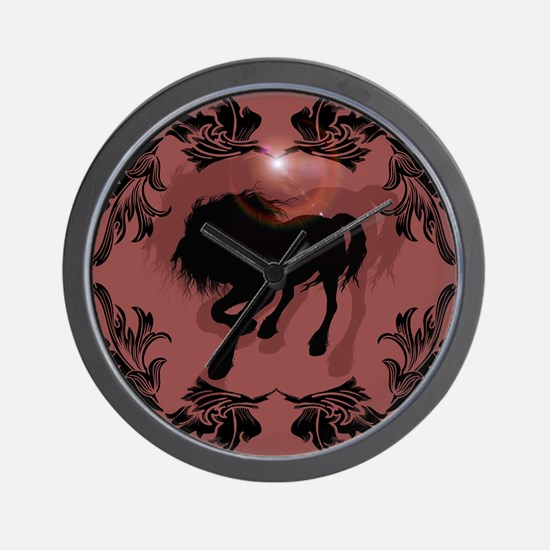 Horse silhouette in black Wall Clock