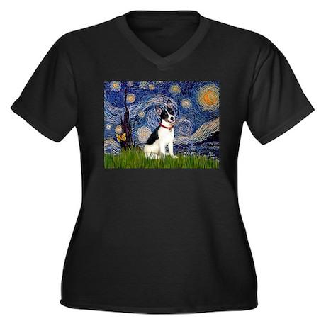 Starry Night & Rat Terrier Women's Plus Size V-Nec