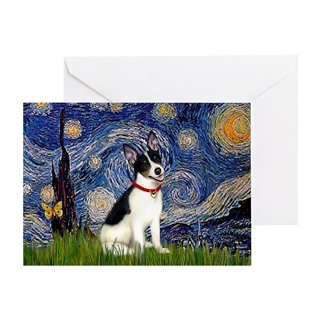 Starry Night & Rat Terrier Greeting Card