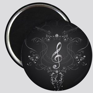 Elegant clef with floral elements Magnets