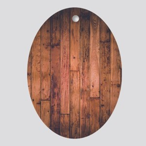 Old Wood Planks Oval Ornament