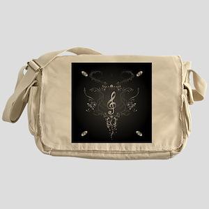 Elegant clef with floral elements Messenger Bag