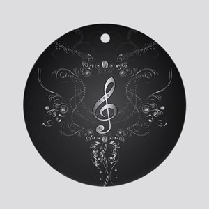 Elegant clef with floral elements Ornament (Round)