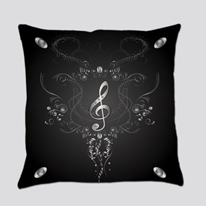 Elegant clef with floral elements Everyday Pillow