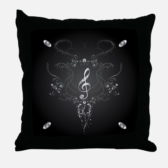 Elegant clef with floral elements Throw Pillow