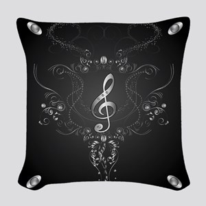 Elegant clef with floral elements Woven Throw Pill