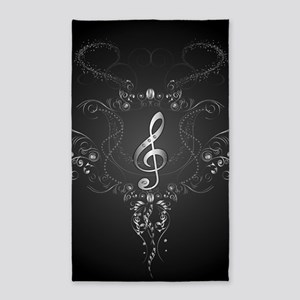 Elegant clef with floral elements Area Rug
