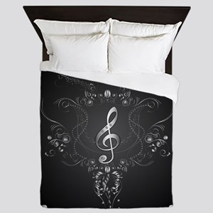 Elegant clef with floral elements Queen Duvet