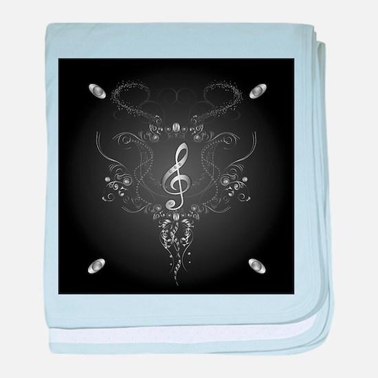 Elegant clef with floral elements baby blanket