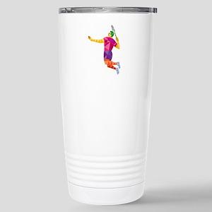 Badminton Player Jump Smash Low Polygon Travel Mug