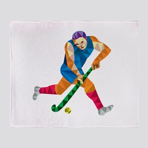 Field Hockey Player Running With Stick Low Polygon
