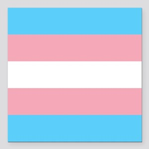 "Transgender Pride Flag Square Car Magnet 3"" x 3"""