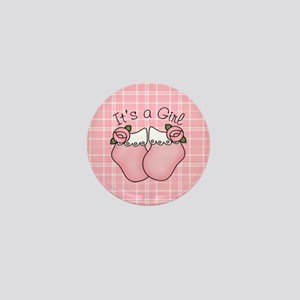 It's A Girl Pink Bootie Mini Button
