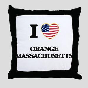 I love Orange Massachusetts Throw Pillow