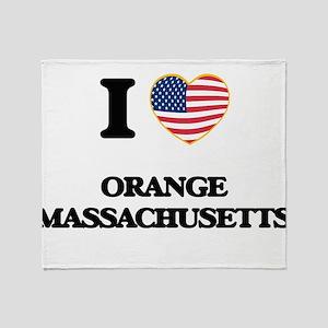 I love Orange Massachusetts Throw Blanket