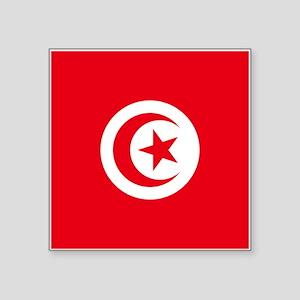 """Tunisia Flag Square Sticker 3"""" x 3"""""""