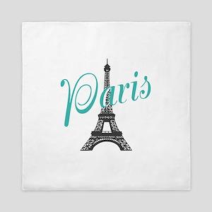 Vintage Paris Eiffel Tower Queen Duvet