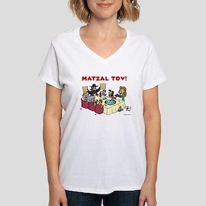 Matzal Tov Passover Seder Women's V-Neck T-Shi