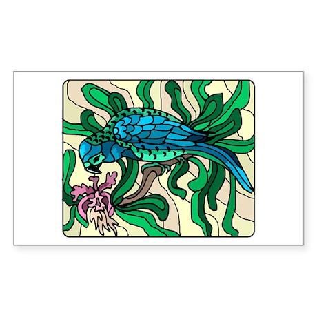 Blue Parrot Rectangle Sticker
