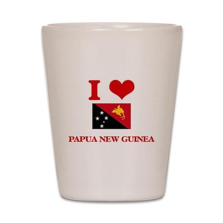 I Love Papua New Guinea Shot Glass