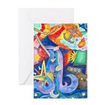 Surreal Seascape Watercolor Greeting Card