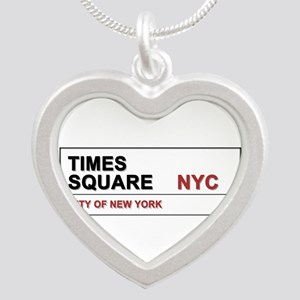 Times Square New York City P Silver Heart Necklace