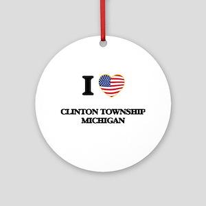 I love Clinton Township Michigan Ornament (Round)